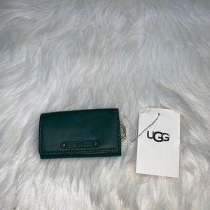 UGG W Jenna Leather Key Wallet Case Holder Green